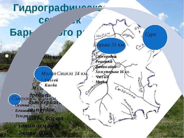 Гидрографическая сеть рек Барышского района Гидрографическая сеть района сост...