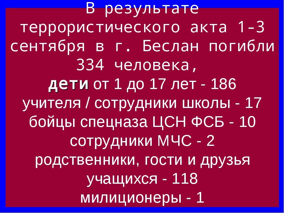 В результате террористического акта 1-3 сентября в г. Беслан погибли 334 чело...