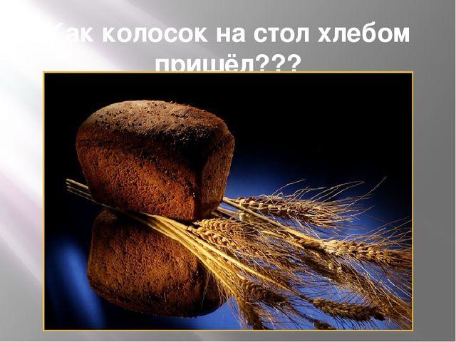 Как колосок на стол хлебом пришёл???