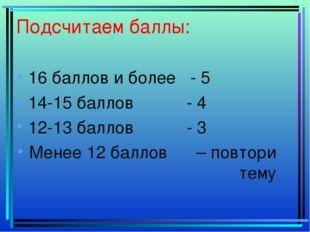 Подсчитаем баллы: 16 баллов и более - 5 14-15 баллов - 4 12-13 баллов - 3 Мен