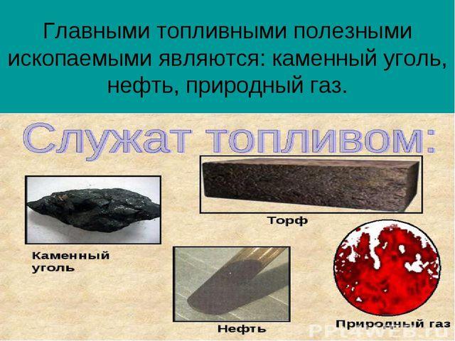 Главными топливными полезными ископаемыми являются: каменный уголь, нефть, пр...