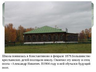 Школа появилась в Константиново в феврале 1879.Большинство крестьянских детей