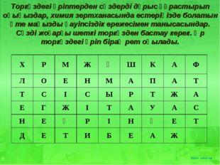 Торкөздегі әріптерден сөздерді дұрыс құрастырып оқыңыздар, химия зертханасын