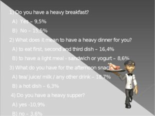 1) Do you have a heavy breakfast? A) Yes – 9,5% B) No – 15,5% 2) What does i