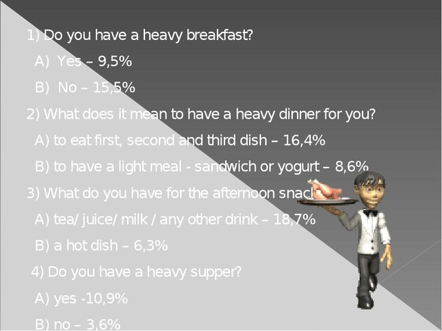 1) Do you have a heavy breakfast? A) Yes – 9,5% B) No – 15,5% 2) What does i...