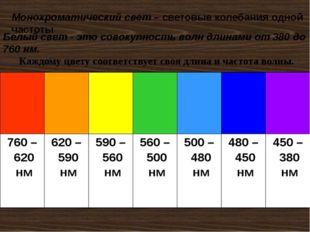 Белый свет - это совокупность волн длинами от 380 до 760 нм. Каждому цвету со