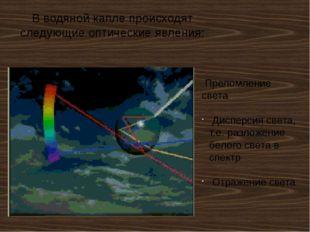 В водяной капле происходят следующие оптические явления: Преломление света Ди