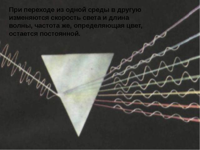 При переходе из одной среды в другую изменяются скорость света и длина волны...