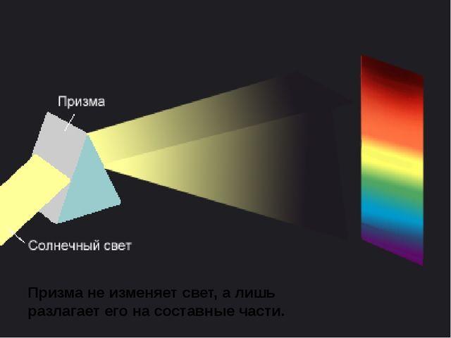 Призма не изменяет свет, а лишь разлагает его на составные части.
