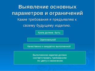 Выявление основных параметров и ограничений Какие требования я предъявляю к с