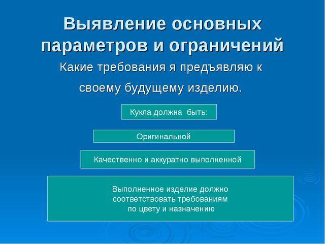 Выявление основных параметров и ограничений Какие требования я предъявляю к с...