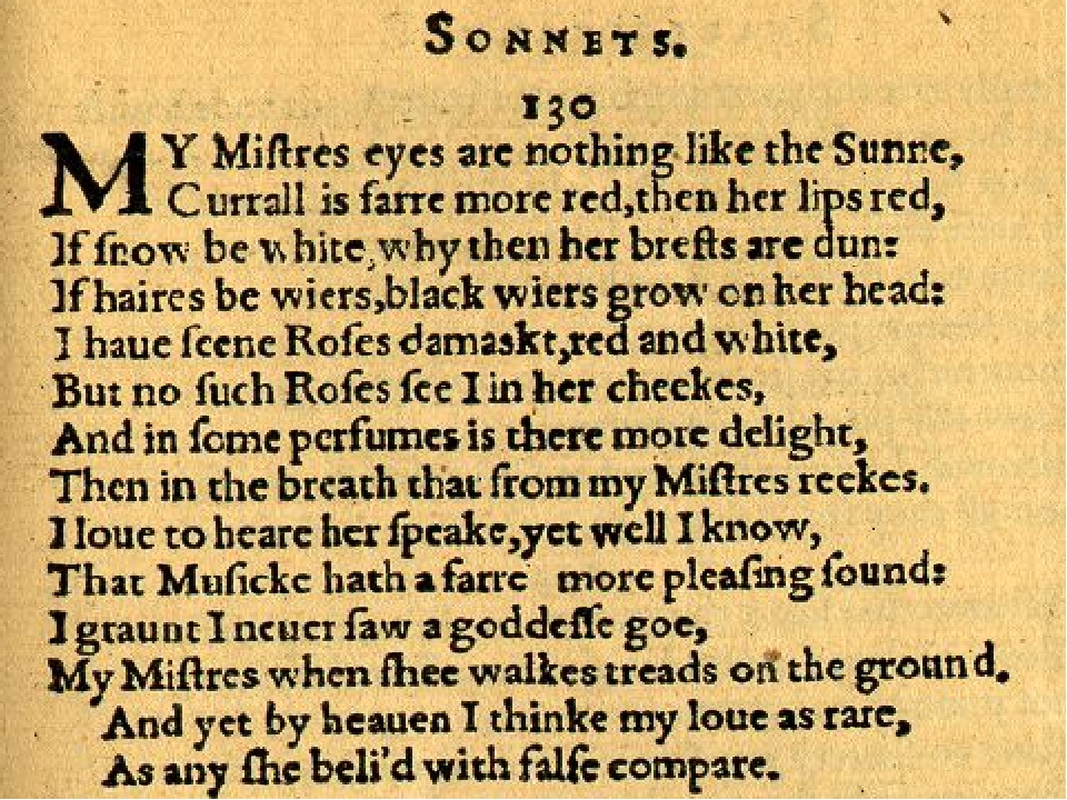 sonnet 130 and my ugly love
