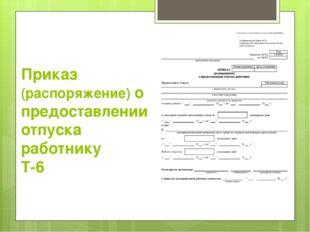 Приказ (распоряжение) о предоставлении отпуска работнику Т-6