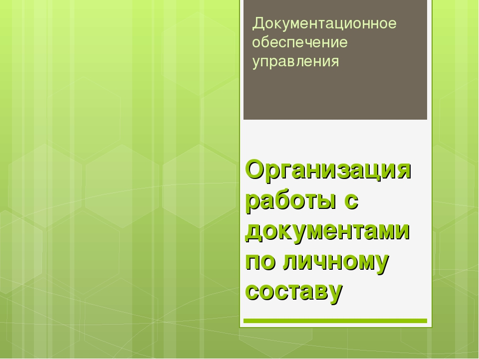 Организация работы с документами по личному составу Документационное обеспече...