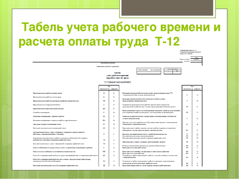 Табель учета рабочего времени и расчета оплаты труда Т-12