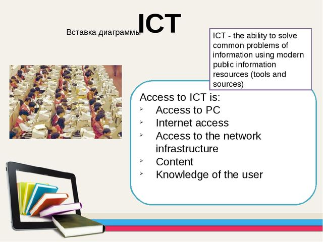 Access to ICT is: Access to PC Internet access Access to the network infrastr...