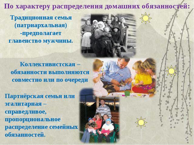 По характеру распределения домашних обязанностей: Традиционная семья (патриар...