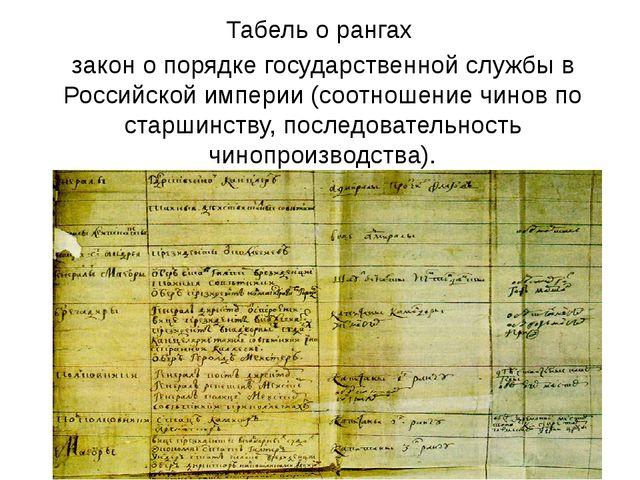 Табель о рангах закон о порядке государственной службы в Российской империи (...