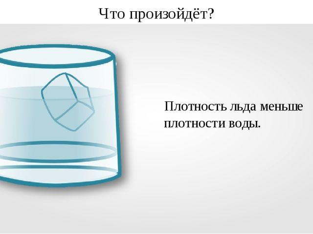 Плотность льда меньше плотности воды. Что произойдёт?