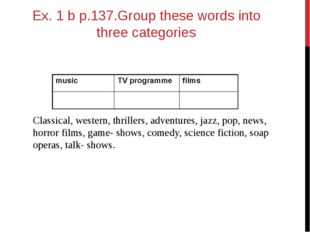 Ex. 1 b p.137.Group these words into three categories Classical, western, thr