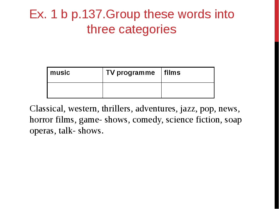 Ex. 1 b p.137.Group these words into three categories Classical, western, thr...