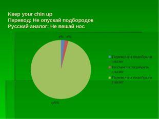 Keep your chin up Перевод: Не опускай подбородок Русский аналог: Не вешай нос