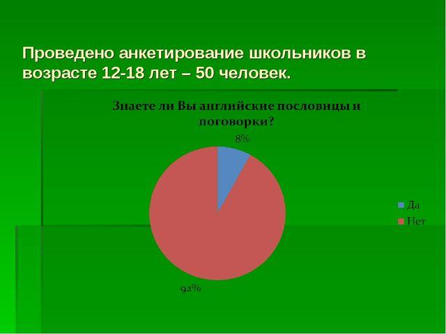 Проведено анкетирование школьников в возрасте 12-18 лет – 50 человек.