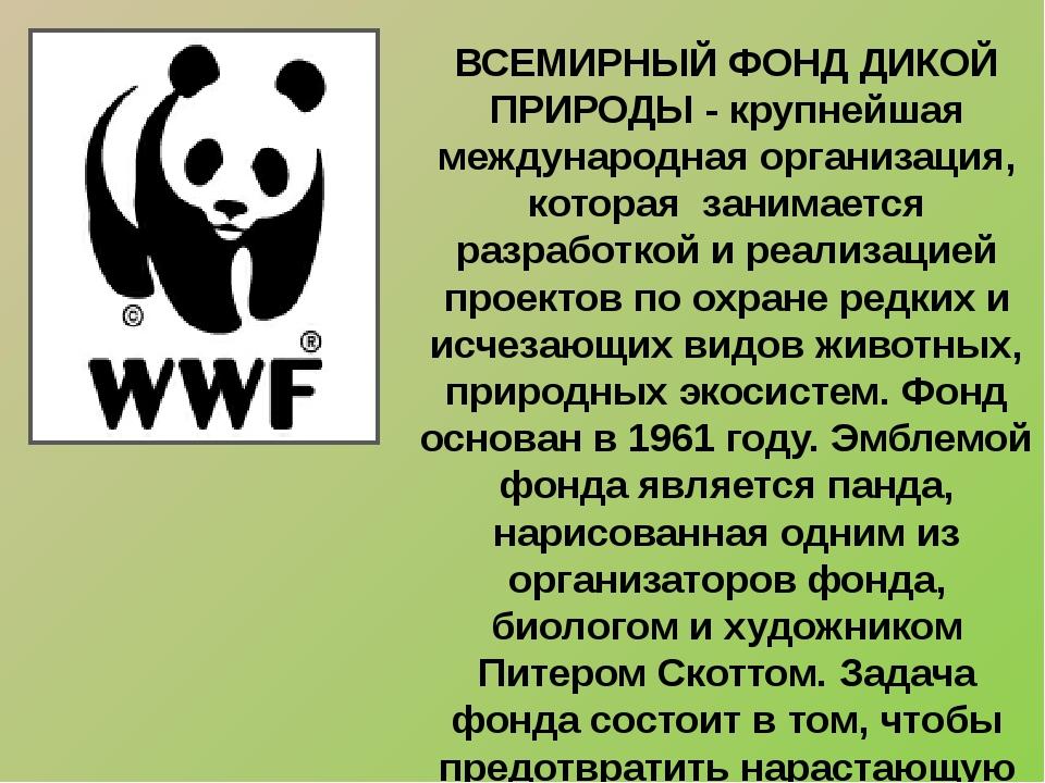 ВСЕМИРНЫЙ ФОНД ДИКОЙ ПРИРОДЫ - крупнейшая международная организация, которая...