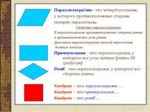 Параллелогра́мм- это четырёхугольник, у которого противоположные стороны поп