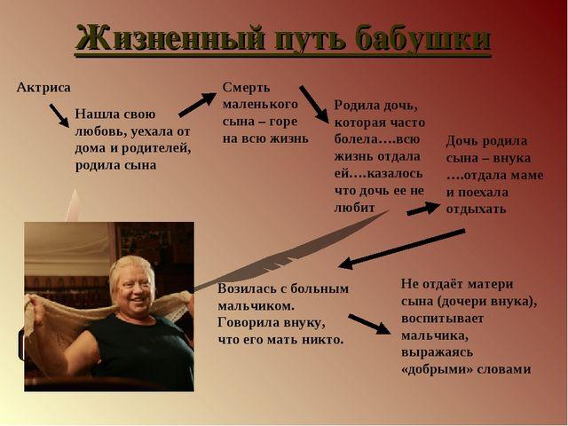 Жизненный путь бабушки Актриса Нашла свою любовь, уехала от дома и родителей,...