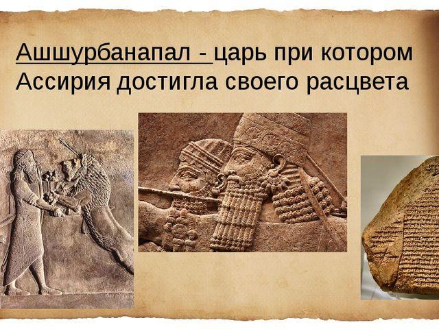 Ашшурбанапал - царь при котором Ассирия достигла своего расцвета