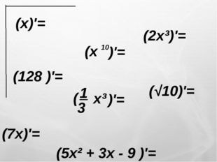 (x)′= (2x³)′= (7x)′= (√10)′= (128 )′= (5x² + 3x - 9 )′=