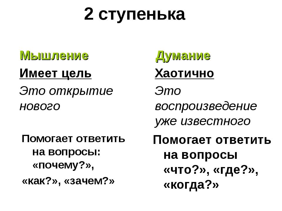 2 ступенька Помогает ответить на вопросы: «почему?», «как?», «зачем?» Мышлени...