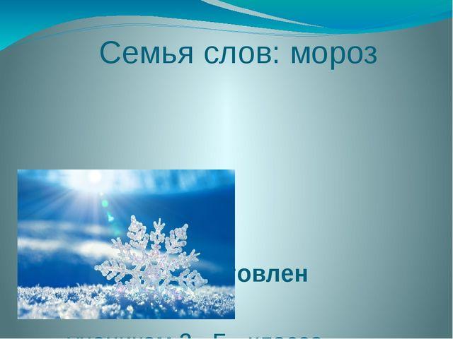 Семья слов: мороз Проект подготовлен учеником 3 «Б» класса средней школы № 2...