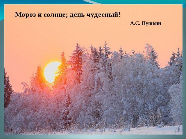 Мороз и солнце; день чудесный! А.С. Пушкин