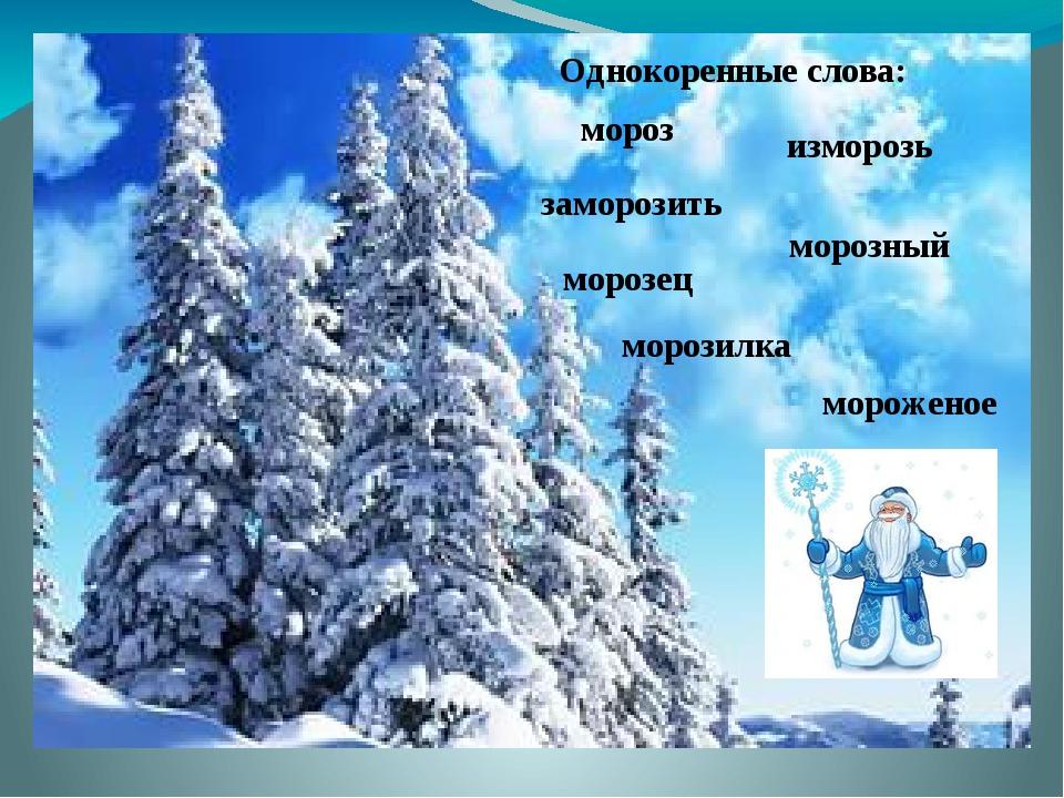 мороз заморозить изморозь морозец морозный морозилка мороженое Однокоренные...