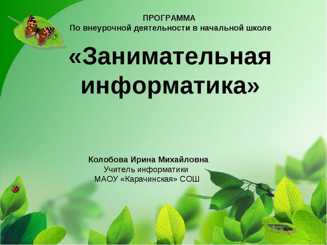 ПРОГРАММА По внеурочной деятельности в начальной школе «Занимательная информа...