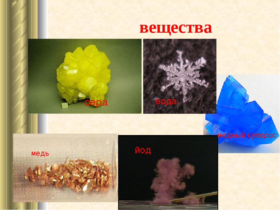 вещества сера медь медный купорос йод вода