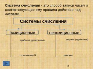 Системы счисления позиционные непозиционные Система счисления - это способ за