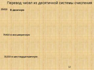Перевод чисел из десятичной системы счисления 25610 76410в восьмеричную В д