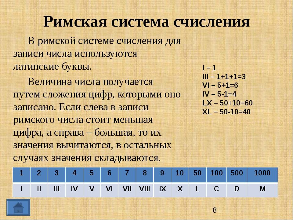 Римская система счисления В римской системе счисления для записи числа испол...