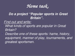"""Home task. Do a project """"Popular sports in Great Britain"""". Find out and write"""