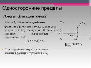 Односторонние пределы ЧислоA1называетсяпределом функцииf(x)слевав точк