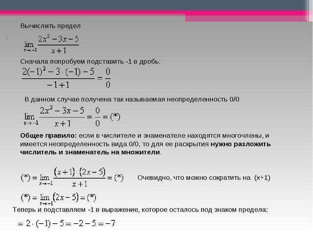 Вычислить предел Сначала попробуем подставить -1 в дробь: В данном случае п...