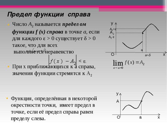 Предел функциисправа ЧислоA2называетсяпределом функцииf(x)справав то...