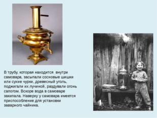 В трубу, которая находится внутри самовара, засыпали сосновые шишки или сухие