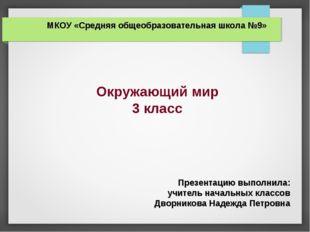 МКОУ «Средняя общеобразовательная школа №9» Окружающий мир 3 класс Презентаци