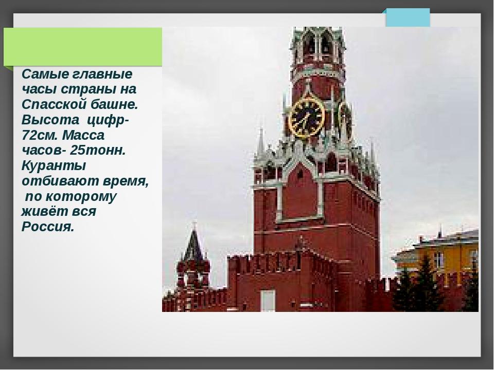 Самые главные часы страны на Спасской башне. Высота цифр-72см. Масса часов- 2...