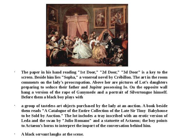 """The paper in his hand reading """"1st Door,"""" """"2d Door,"""" """"3d Door"""" is a key to th..."""