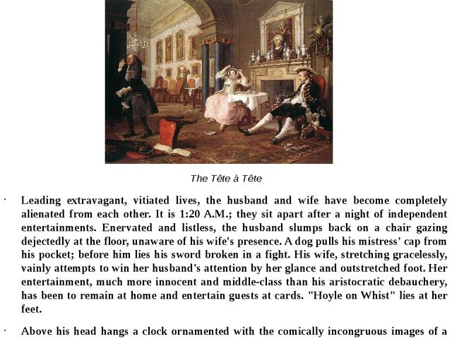 The Tête à Tête Leading extravagant, vitiated lives, the husband and wife hav...